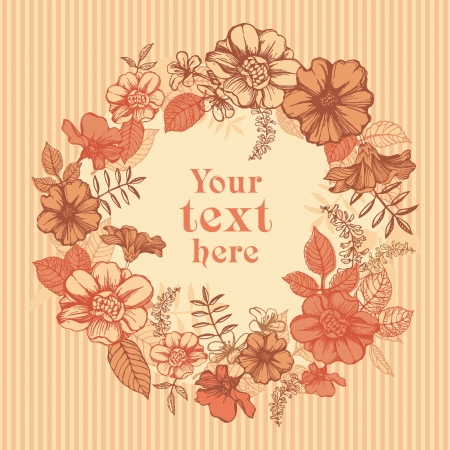 Autumn wreath of flowers and leaves; vintage greeting card Vector