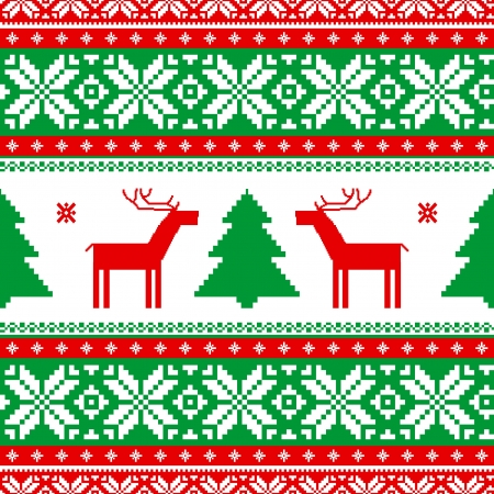 Christmas knitted traditional seamless ornament with deers Vector