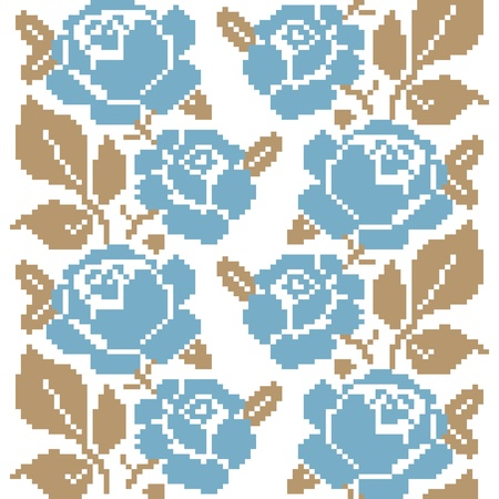 cross stitch: Decorative seamless pattern with embroidered roses Illustration