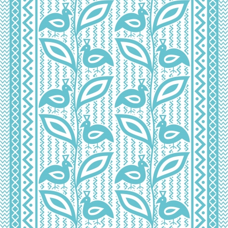 Ethnic ornamental pattern with birds and plants Vector