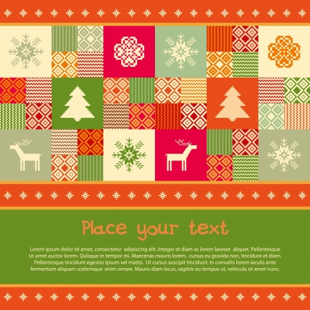 Christmas banner template christmas traditional motives, patchwork style Vector