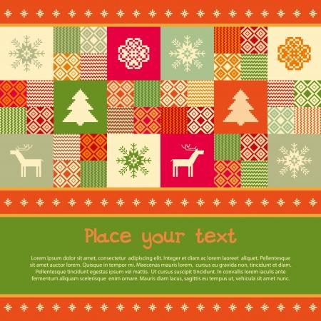 christmas motive: Christmas banner template christmas traditional motives, patchwork style
