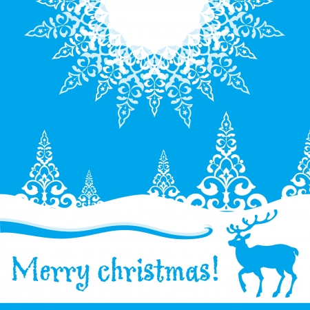 Decorative christmas card with deer Stock Vector - 16164105