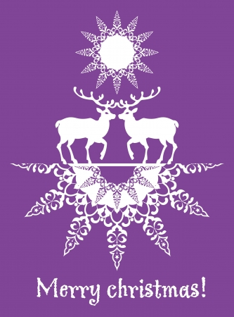 Christmas card deers and snowflake Stock Vector - 16164103