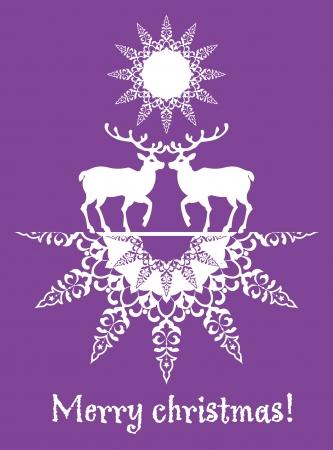 cuttings: Christmas card deers and snowflake