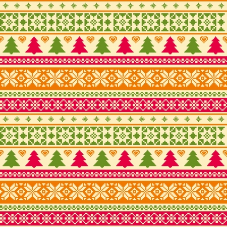 Christmas seamless pattern fair isle style Vector
