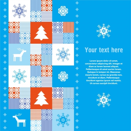 christmas motive: Winter background with christmas traditional motives Illustration
