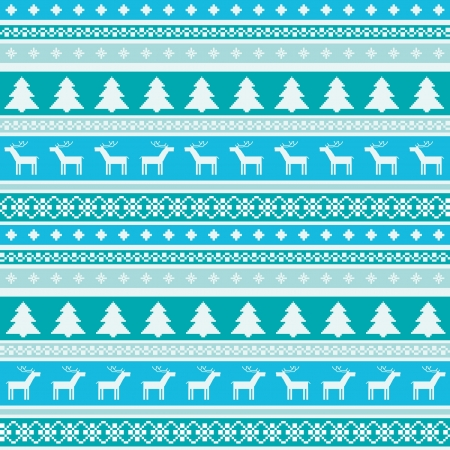 Winter striped seamless pattern with christmas trees and deers