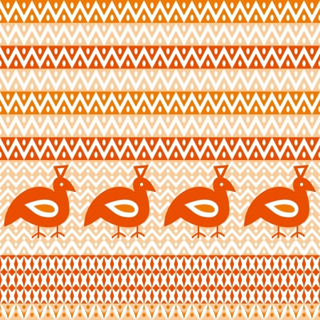 Abstract tribal ornament zigzags and stylized birds Vector