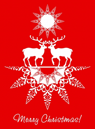 Christmas card deers and snowflake red background Stock Vector - 16283553