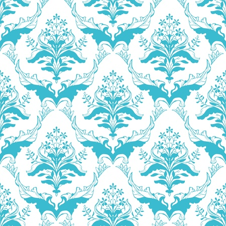 Seamless ornamental damask classic floral wallpaper Vector