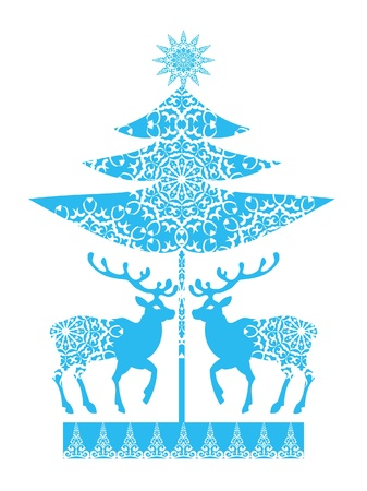 Ornamental Christmas card snowlakes and deers Stock Vector - 16283567