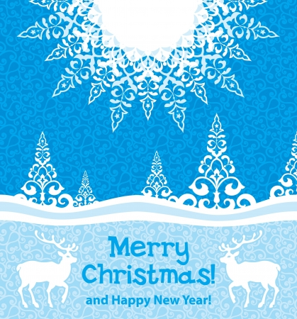 winter forest: Christmas card deers in winter forest