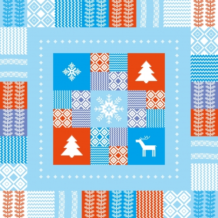 christmas motive: Christmas patchwork style background with traditional motives Illustration
