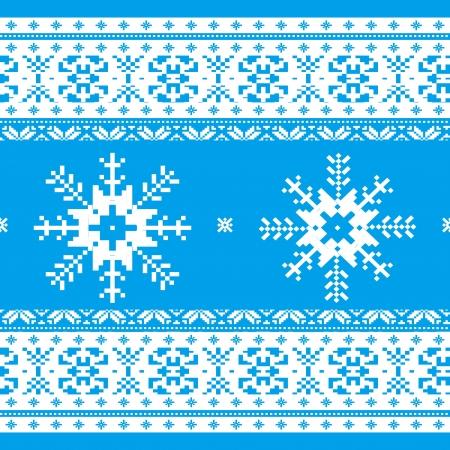 sueter: Navidad tradicional de punto patr�n ornamental con copos de nieve azul y blanco Vectores