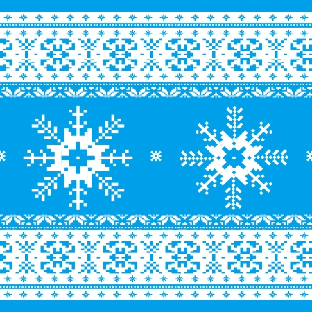 Traditional christmas knitted ornamental pattern with snowflakes blue and white Vector