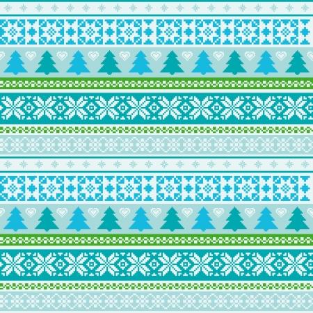 fair isle: Fair Isle motivo ornamentale stamless con albero di Natale Vettoriali