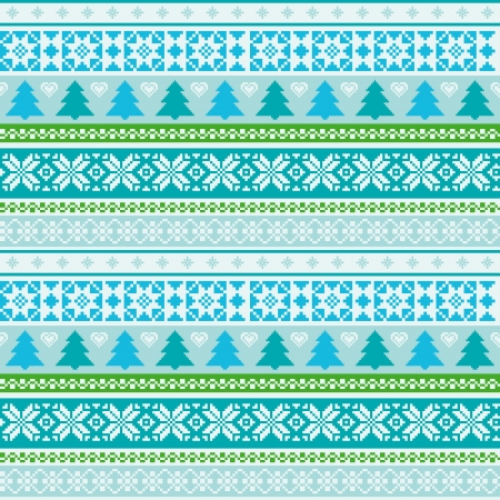 Fair isle ornamental stamless pattern with Christmas tree Vector