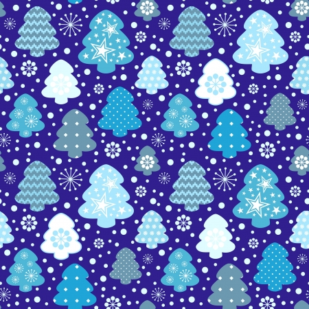 Winter trees seamless pattern Vector