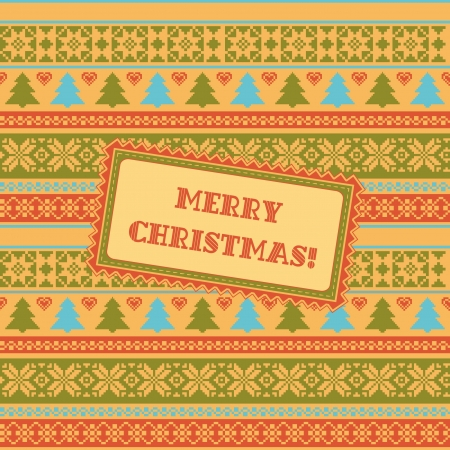 Christmas ornamental striped background greeting card Vector