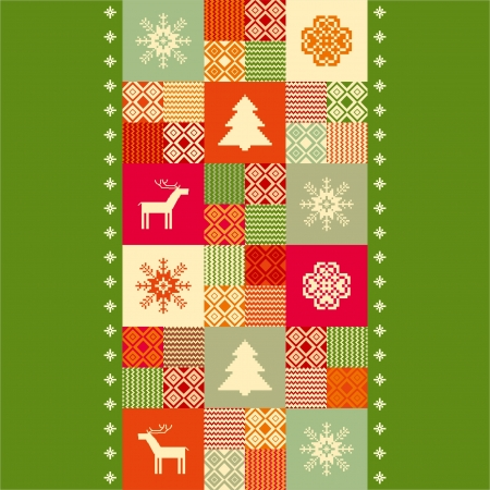 Christmas patchwork colorful background Illustration