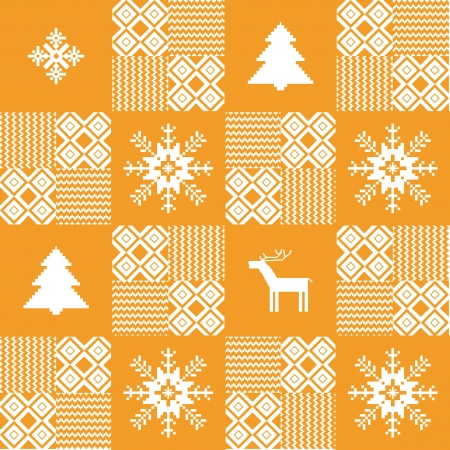 Patchwork seamless Christmas background Vector