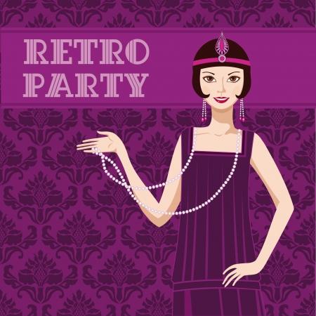 flapper: Retro invitaci�n del partido tarjeta bonita chica flapper 20s Vectores