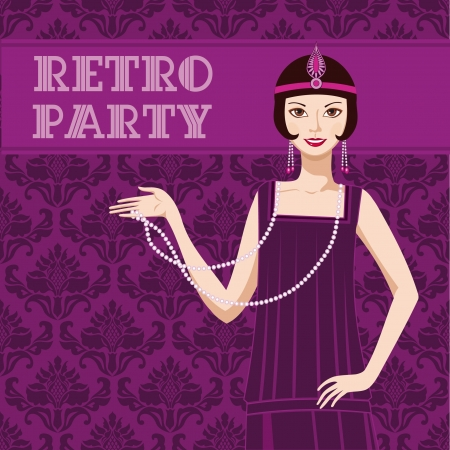 flapper: Retro party invitation card pretty flapper girl 20s