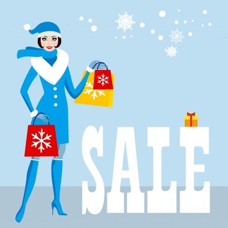kerst markt: Christmas sale shopping mooie Kerstman vrouwen Stock Illustratie