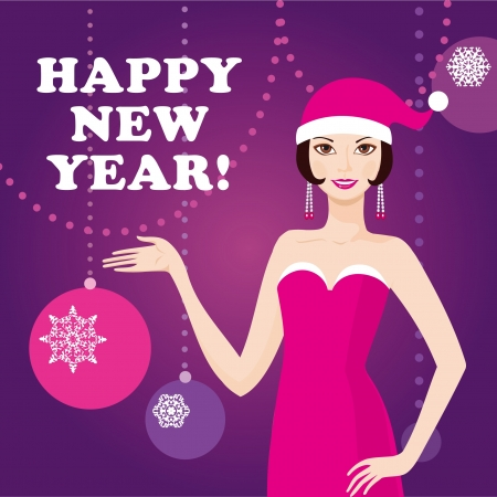 Happy new year greeting card with santa girl Stock Vector - 16435464