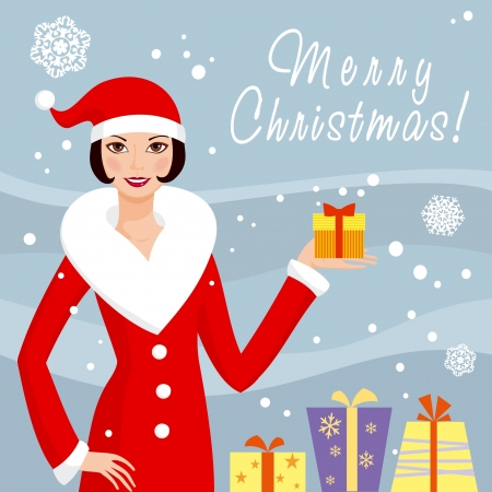 Santa girl with christmas gift box Vector
