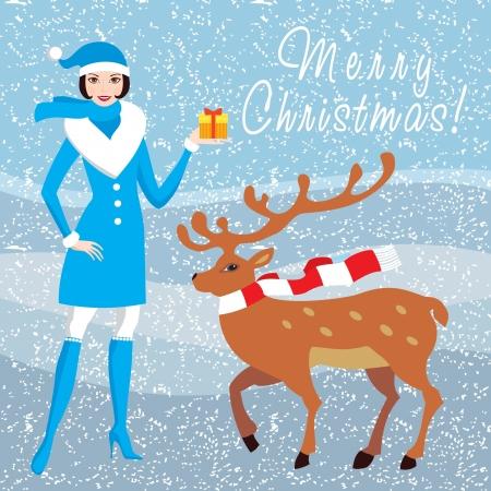 Christas card with Santa girl and deer Stock Vector - 16702150