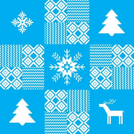 Christmas seamless pattern with traditional motives Vector