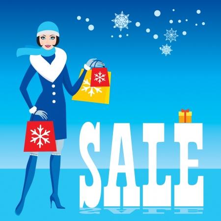 mujer en el supermercado: Las compras de Navidad, la venta, feliz niña Santa con bolsas de la compra