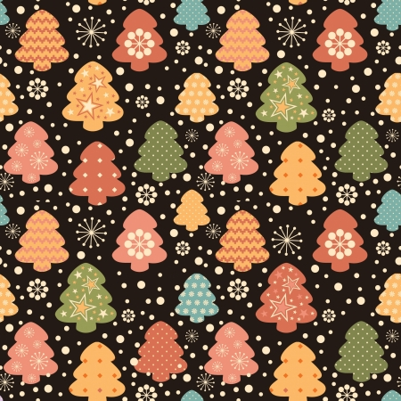 Christas tree colorful decorative seamless pattern Vector