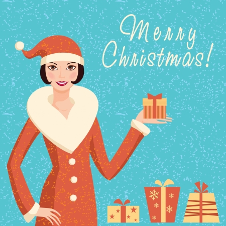 Retro Christmas card with Santa girl and gifts Stock Vector - 16702149