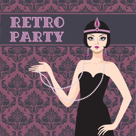 flapper: Retro party invitation card beatyful woman 20s Illustration
