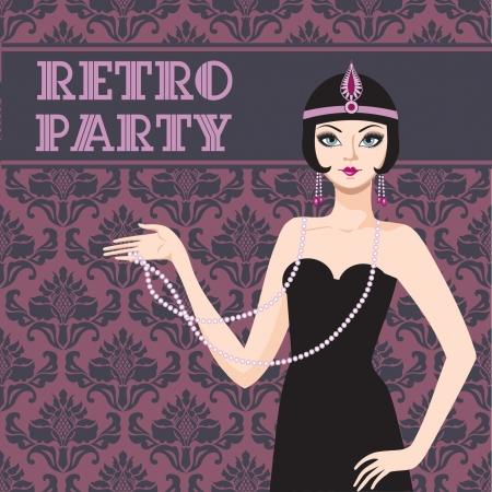 Retro party invitation card beatyful woman 20s Illustration