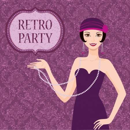classic woman: Retro party invitation card pretty flapper girl 20s