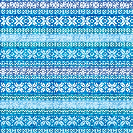 Traditional folk nordic textyle geometric ornament in blue Stock Photo - 16702169