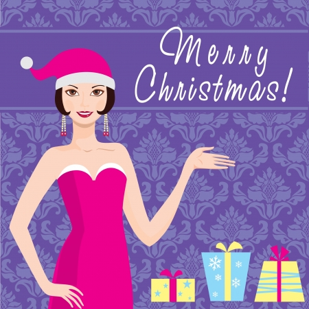 Merry Christmas card  Santa girl with gifts Vector