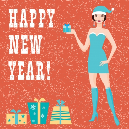 Happy new year greeting card with santa girl Vector