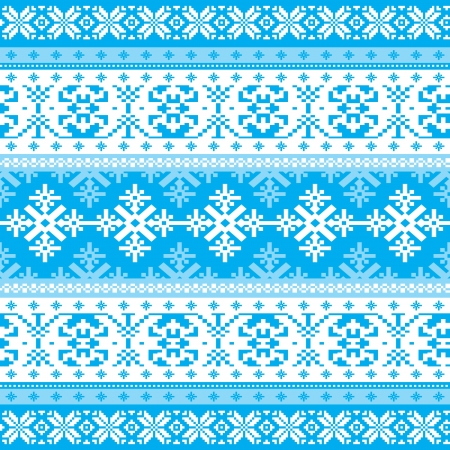 Traditional christmas knitted ornamental winter background with snowflakes Stock Vector - 16966652