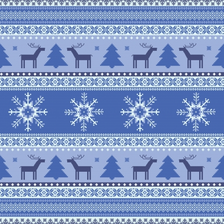 Winter christmas knitted traditional seamless pattern with deer Vector