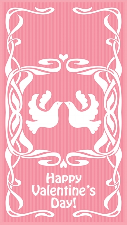 Romantic pink card with birds in love Vector