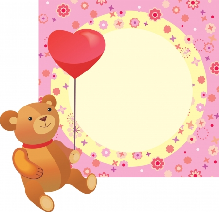 Valentines background Teddy bear with a heart balloon Vector