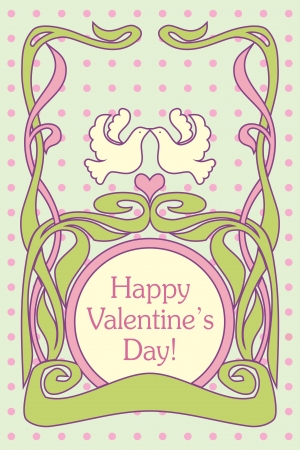 vernal: Romantic retro Valentines card with birds and heart Illustration
