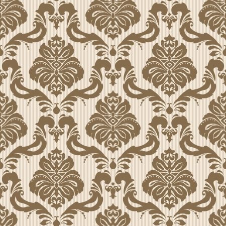 Classic wallpaper seamless ornamental pattern Vector