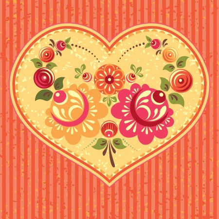 Floral card with heart and flowers traditional folk style Stock Vector - 17410797