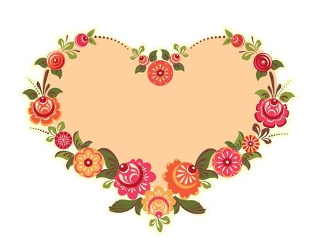 Cadre de fleur décoratif en forme de coeur